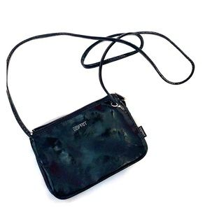 Shiny Leather Small Black Crossbody Bag / Purse